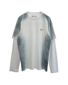 C2H4 DOUBLE LAYER LONG-SLEEVE T-SHIRT / WHITE-BLUE