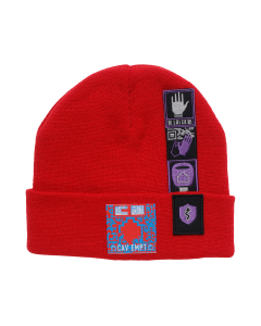 C.E PATCHED KNIT CAP / RED