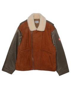 C.E LEATHER/NYLON BOMBER / BROWN