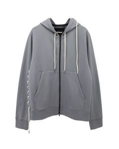 CRAIG GREEN LACED ZIP UP HOODIE / GREY