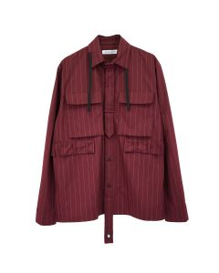 CRAIG GREEN TIE UTILITY SHIRT / RED PINSTRIPE