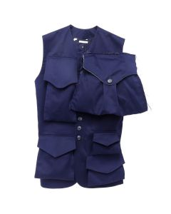 Charles Jeffrey LOVERBOY PATCH POCKET FEATURE ON NAVY TWILL WAISTCOAT / NAVY
