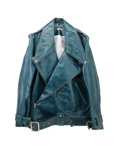 Charles Jeffrey LOVERBOY COLUMN BIKER JACKET / DEEP FOREST GREEN