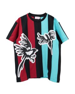 Charles Jeffrey LOVERBOY MAGPIE STRIPE TEE / BLACK+RED+GREEN