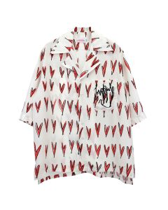 Charles Jeffrey LOVERBOY OVERSIZED HAWAIIAN SHIRT / HEARTS PRINT