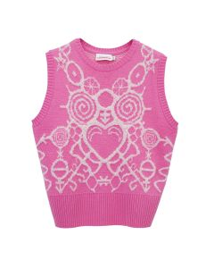 Charles Jeffrey LOVERBOY PICT VEST / PINK+WHITE