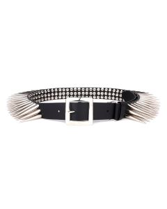 Charles Jeffrey LOVERBOY SPIKEY STUDDED BELT / BLACK+SILVER