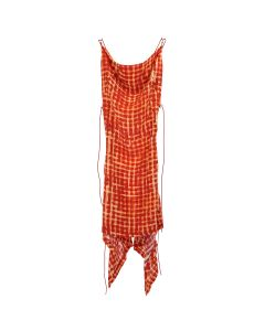 Charlotte Knowles COWL NECK DRESS WITH CORD ADJUSTMENT / RED CHECK