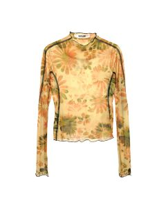 Charlotte Knowles THIN MESH TOP WITH ANATOMIC CUTTING LINES / FLORAL BLEACH