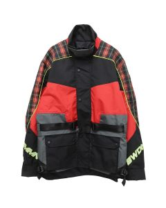 CMMN SWDN ROMAN-TECHNICAL PANELLED MOTO JACKET / RED CHECK