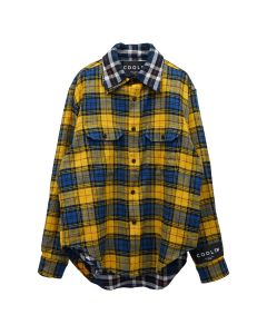COOL T.M REVERSIBLE OVERSIZE CHECK SHIRT / YELLOW