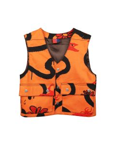 COME TEES SNAP DENIM VEST / ORANGE
