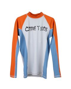 COME TEES RASHGUARD / BLUE SLATE-ORANGE