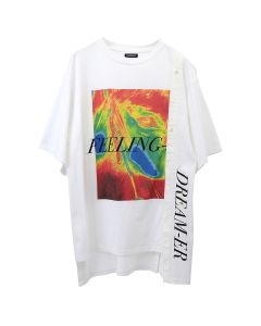 CHRISTIAN DADA COMBINED GRAPHIC PRINT SHIRT / WHITE