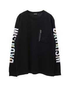 CHRISTIAN DADA GRAPHIC PRINT LONG SLEEVE POCKET T-SHIRT / BLACK
