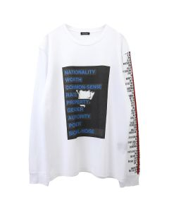 CHRISTIAN DADA GRAPHIC PRINT LONG SLEEVE T-SHIRT / WHITE