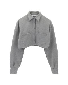 DANIELLE GUIZIO FLEECE CROPPED BUTTON DOWN / GREY