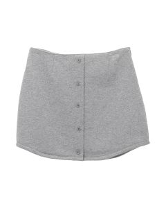 DANIELLE GUIZIO FLEECE BUTTON SKIRT / GREY