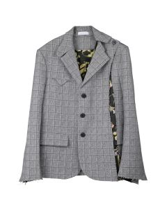 DELADA RAW EDGED REMOVABLE FRONT PANEL BLAZER / GREY CHECK WOOL&PRINT BROWN