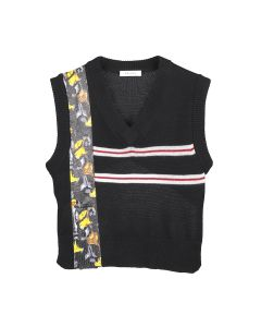 DELADA KNITTED VEST WITH VERTICAL PRINT FROM DELADA / DARK GREY
