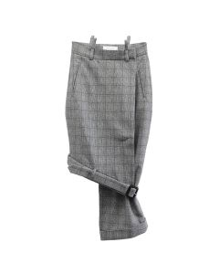 DELADA ASYMMETRICAL UNISEX SKIRT / GREY CHECK WOOL