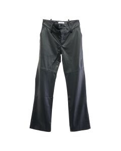 DELADA RAW EDGED RIPPED FRONT TROUSER / BLACK LEATHER