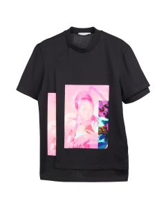 DELADA DOUBLE T-SHIRT WITH PRINT / BLACK AND PRINT PINK
