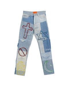 WHO DECIDES WAR UNIFIED EMBROIDERED DENIM JEANS / BLUE
