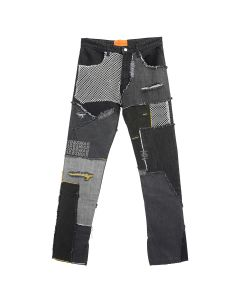 WHO DECIDES WAR BLACK UPCYCLED PATCHWORK DENIM JEANS / BLACK