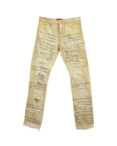 WHO DECIDES WAR WHO DECIDES WAR RHINESTONE TEXT DENIM JEANS / NUDE
