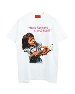 WHO DECIDES WAR WHAT HAPPENED TO YOUR HAND TEE / WHITE