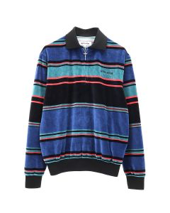 FUCKING AWESOME BLOCK STRIPE VELOUR 1/4 ZIP SHIRT / BLUE-RED