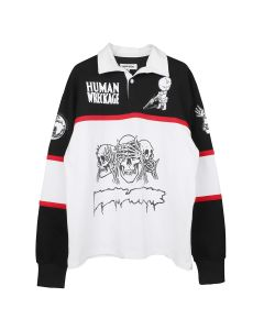 FUCKING AWESOME SPONSORED RUGBY SHIRT / WHITE-BLACK