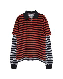 FUCKING AWESOME VELOUR DOUBLE SHIRT / BLACK-RED W.BLACK-GREY