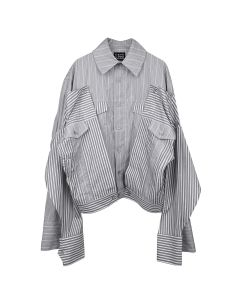 Feng Chen Wang 2-IN-1 DRAPED L/S SHIRT JACKET / GREY-WHITE STRIPE