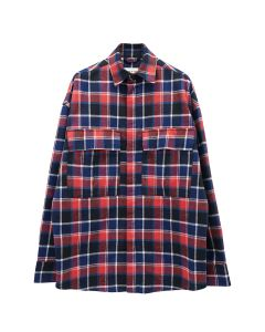 FEAR OF GOD LONG SLEEVE PLAID BUTTON UP / 642 : RED-NAVY PLAID