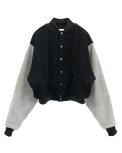 FEAR OF GOD SIXTH COLLECTION PANELED VARSITY JACKET / 005 : BLACK-GREY