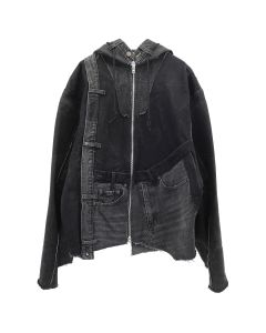 GAKURO DENIM HOODED JACKET [RAJN] 01 / BLACK