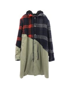 Greg Lauren 50/50 MIXED WOOL PLAID/ARMY TRENCH COAT / RED-BLACK