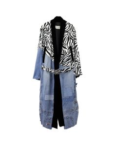 Greg Lauren 50/50 ZEBRA/DENIM KIMONO ROBE / BLACK-BLUE