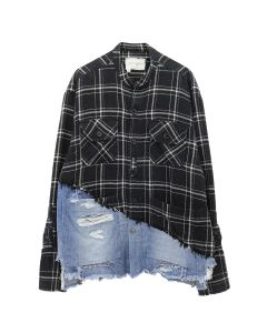 Greg Lauren 50/50 BLACK PLAID/DENIM BOXY STUDIO / BLACK