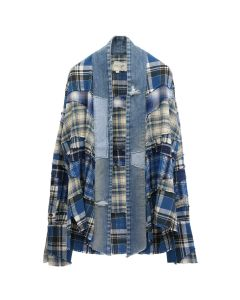 Greg Lauren GREG LAUREN BLUE MIXED PLAID KIMONO STUDIO / CREAM NAVY