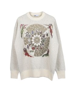 GmbH KNITTED JUMPER WITH ZODIAC EMBROIDERY / OFF-WHITE