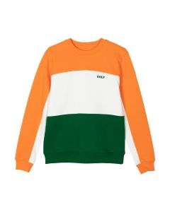 GOLF WANG PANELLED FLEECE CREWNECK / ORANGE