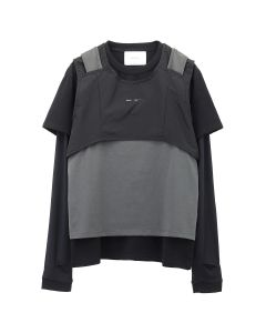 HELIOT EMIL LONG SLEEVE T-SHIRT W.LAYERED / DARK GREY-BLACK