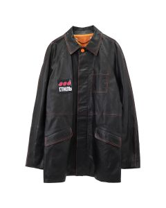 HERON PRESTON SHORT LEATHER JKT DOTS CTNMB / 1088 : BLK MULTICOLOR