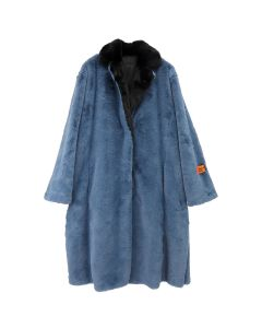 HERON PRESTON LONG FUR COAT CTNMB / 3410 : COBALT BLUE BLK