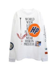 HERON PRESTON LS T-SHIRT REG COLLAGE / 0110 : WHITE BLACK