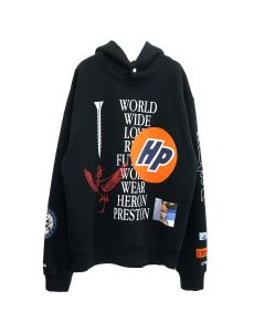 HERON PRESTON HOODIE PLAIN COLLAGE / 1001 : BLACK WHITE