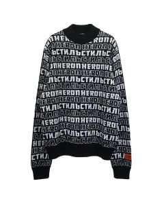 HERON PRESTON KNIT ALLOVER TURTLE NECK / 1001 : BLACK WHITE